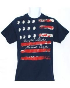 US Flag with Marine Corps Emblem Stars T-Shirt