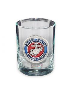 Marines Old Fashioned Glass with Pewter USMC Logo