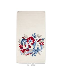 Floral Embroidered USA Tea Towel